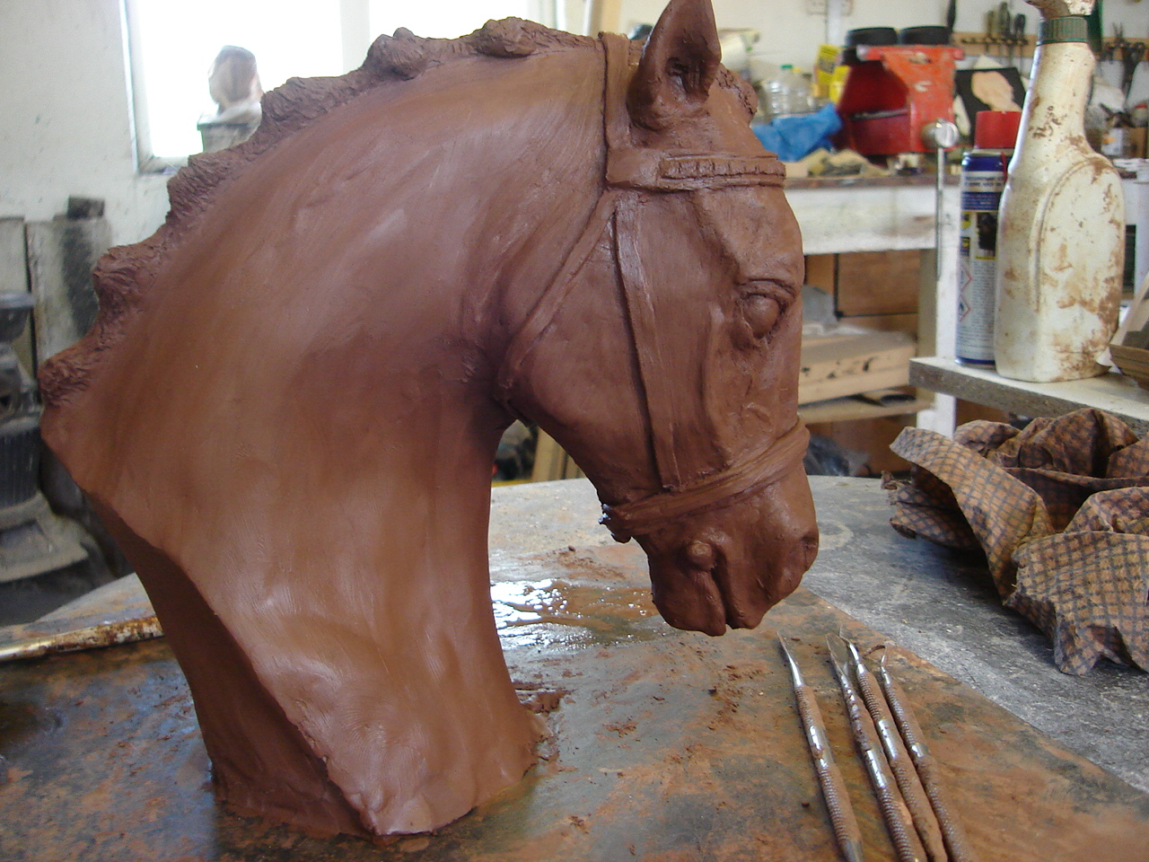 Sculpture in clay to be cast in cold cast bronze.